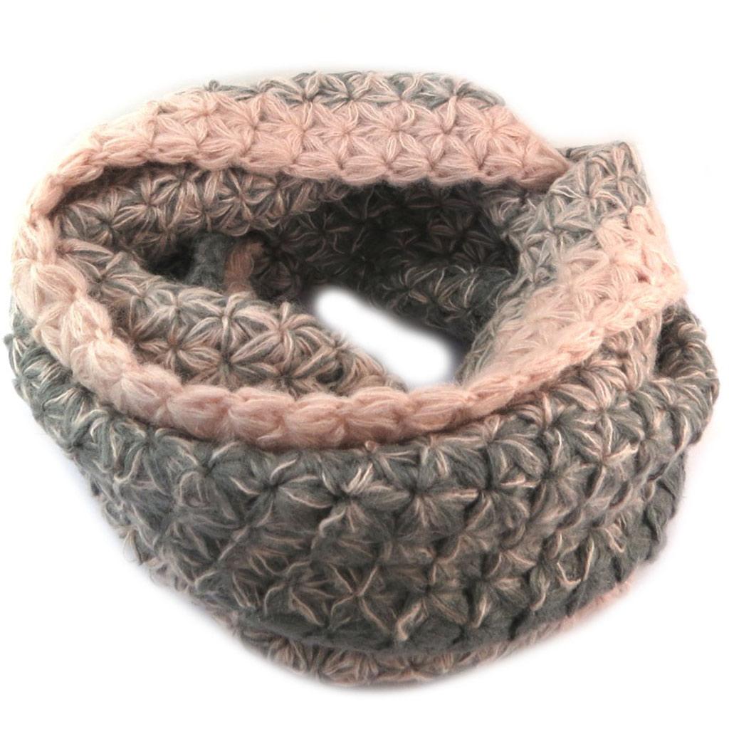 Echarpe tube / snood maille \'Lollipops\' gris rose - 79x38 cm - [P6137]