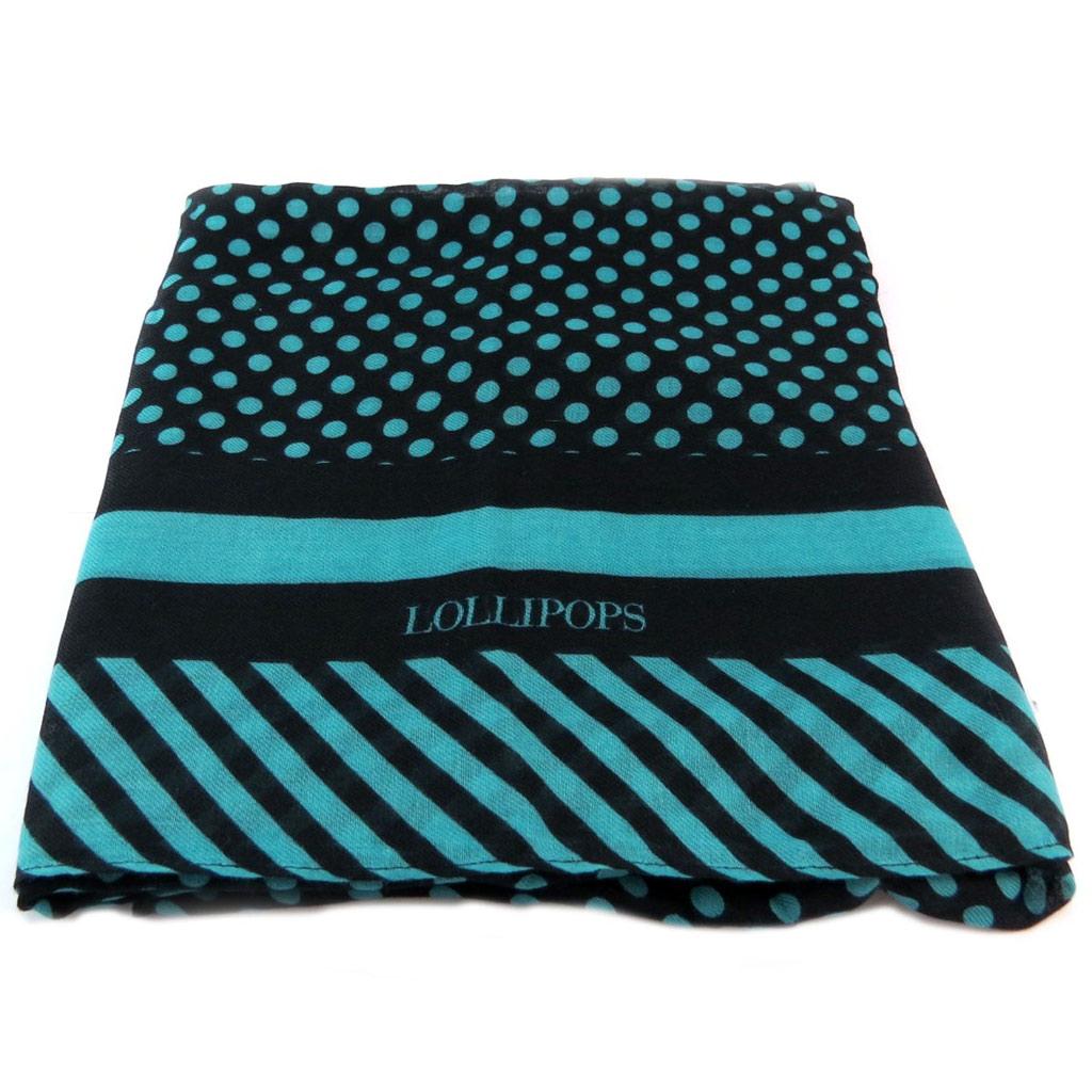 Echarpe foulard \'Lollipops\' turquoise (petits pois) - 178x67 cm - [P6138]