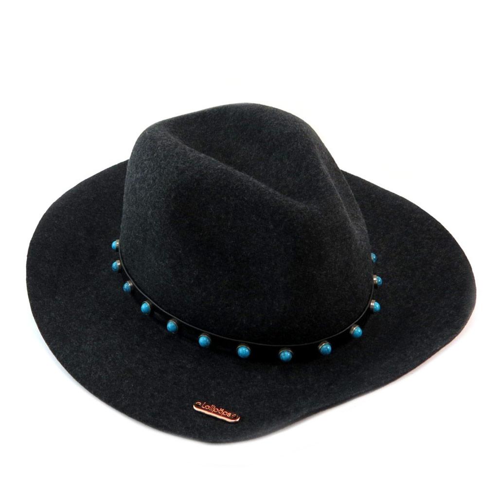 Chapeau laine \'Lollipops\' noir turquoise - 34x31 cm - [P6148]