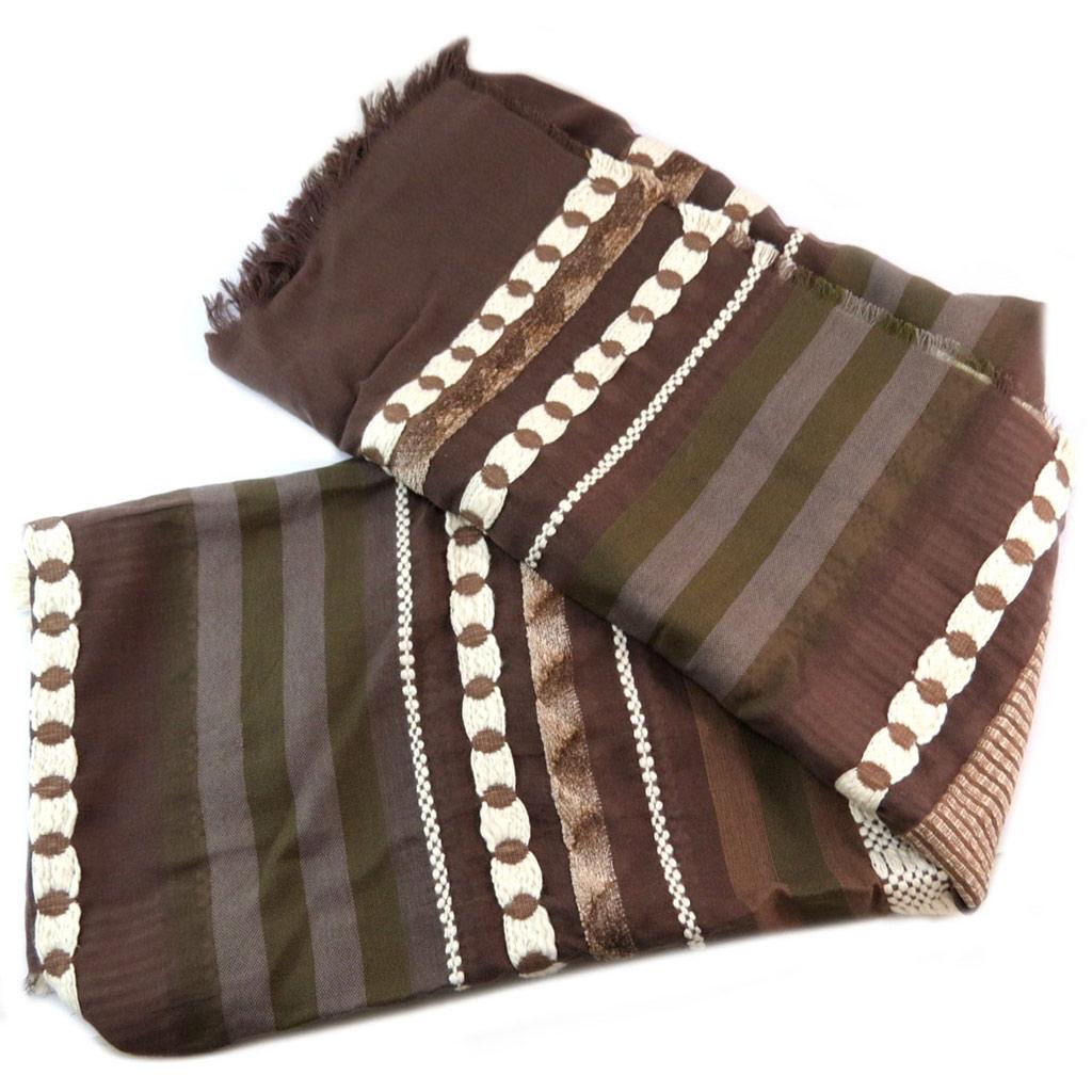 Carré foulard \'Lollipops\' marron ethnique - 175x78 cm - [P6149]