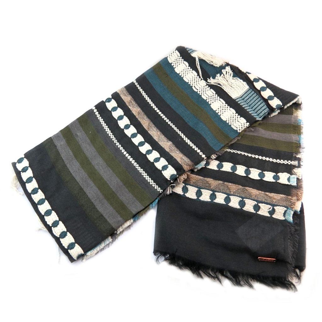 Carré foulard \'Lollipops\' noir bleu ethnique - 175x78 cm - [P6150]