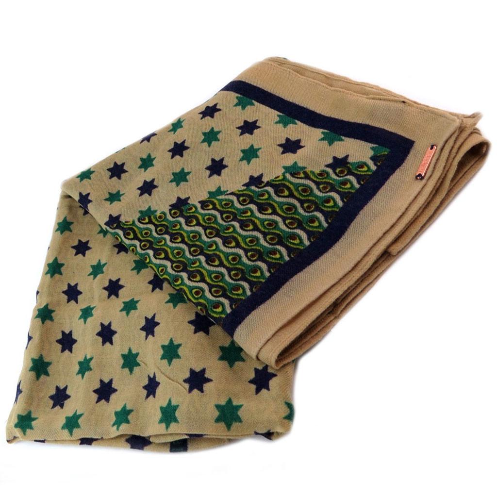 Carré laine \'Lollipops\' beige vert bleu (étoiles) - 122x122 cm - [P6151]