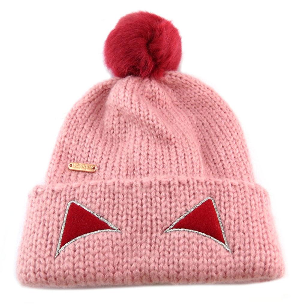 Bonnet maille \'Lollipops\' rose (chat) - [P6157]