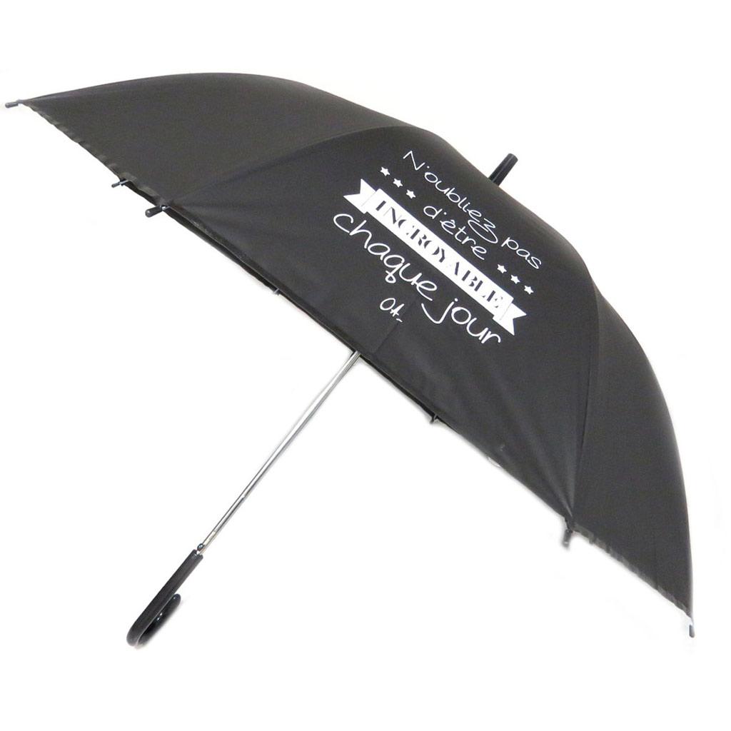 Parapluie canne\'Messages\' noir (N\'oubliez pas d\'être incroyable chaque jour) - 81x15 cm - [P6213]