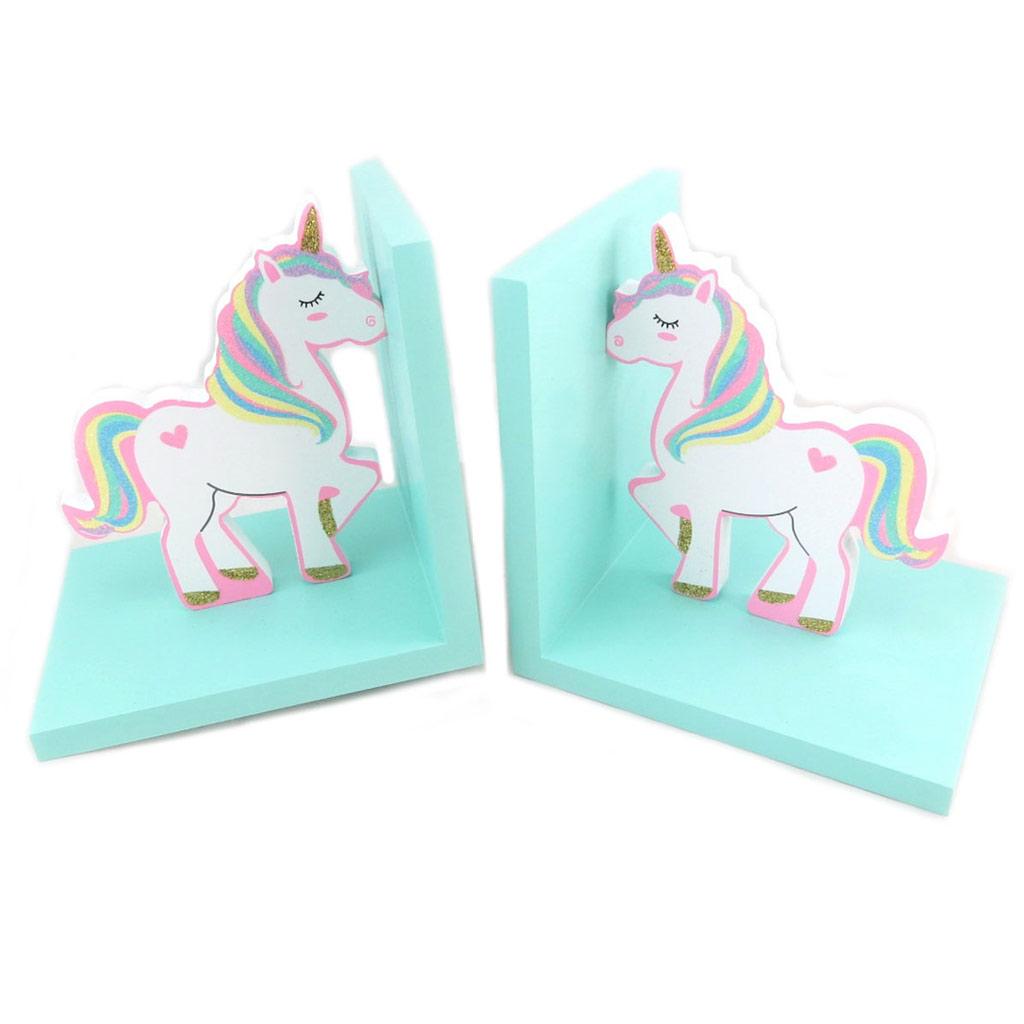Serre Livres bois \'Licorne My Unicorn\' blanc rose turquoise - 305x15x12 cm - [P6246]