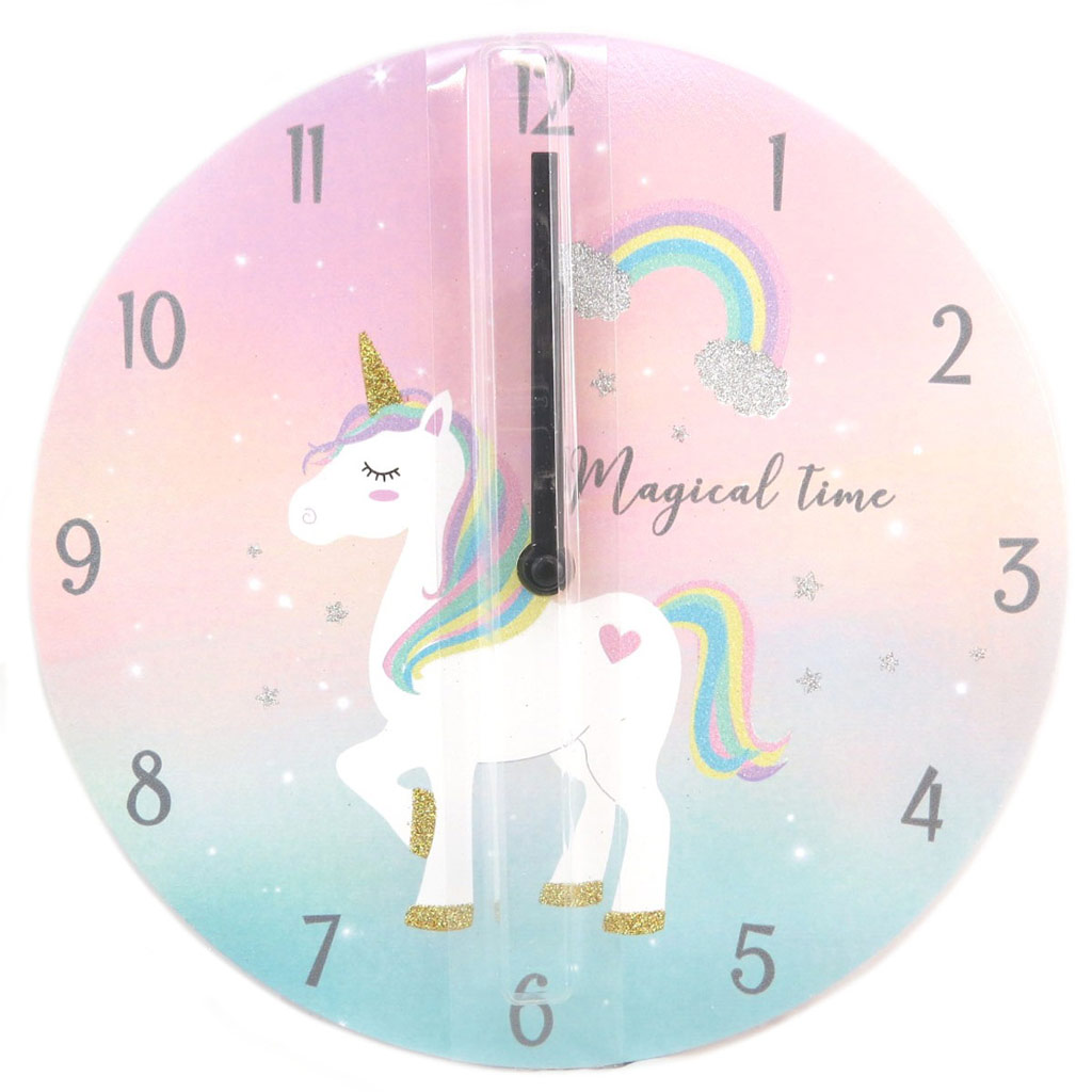 Horloge bois \'Licorne My Unicorn\' rose (Magical Time)- 25 cm - [P6248]