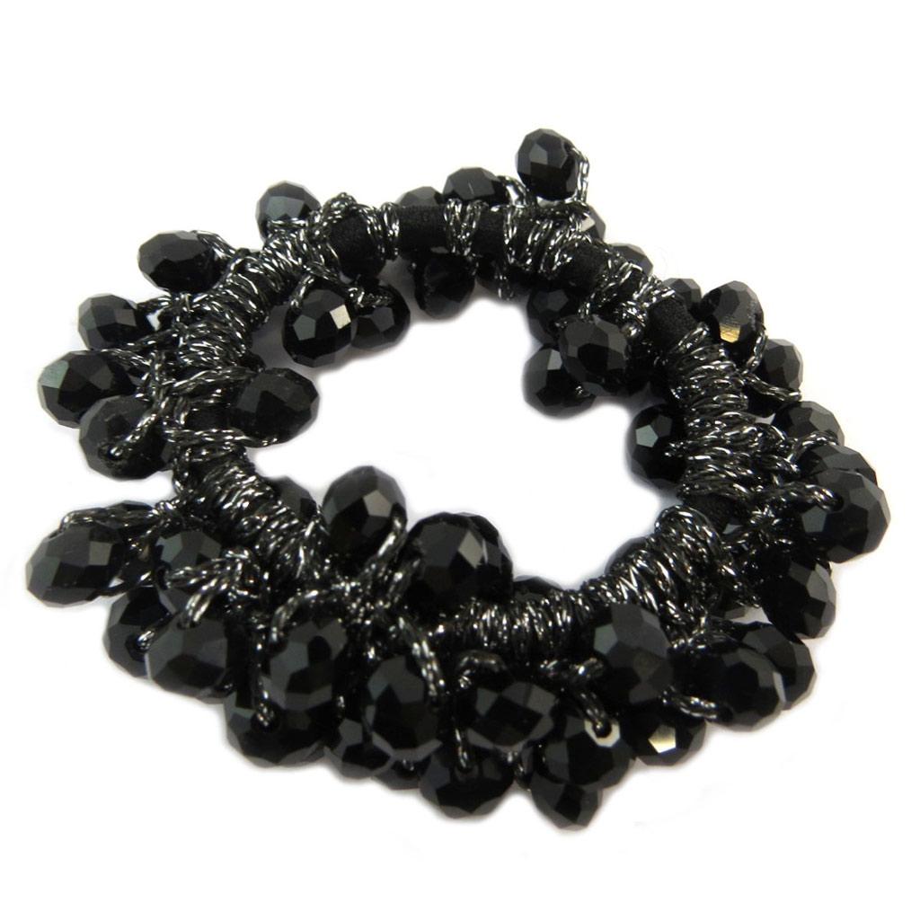 Chouchou créateur \'Sissi\' noir (cristal) - largeur 2 cm - [P6251]