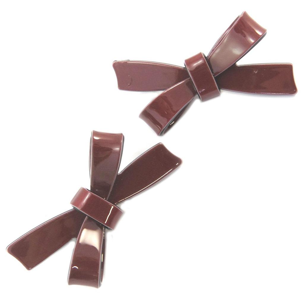 2 barrettes / pinces pélican \'Sissi\' rouge bordeaux (noeuds) - 65x30 mm - [P6268]