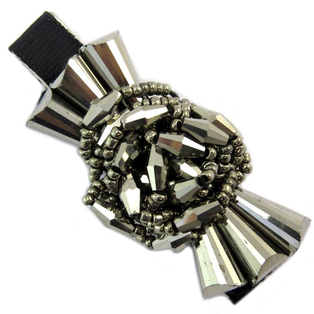 Barrette / pince pélican \'Sissi\' gris noir (fleurs) - 60x30 mm - [P6272]
