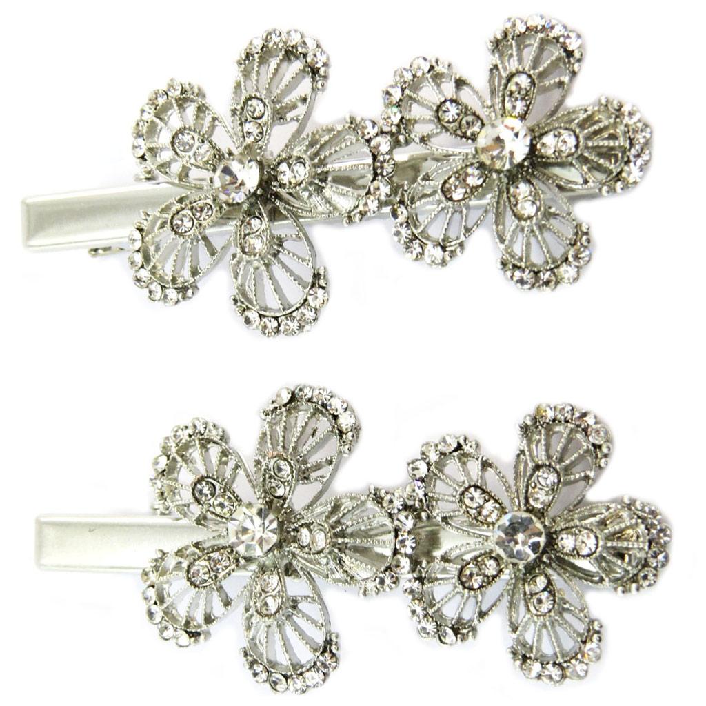 2 barrettes / pinces pélican \'Sissi\' blanc argenté (fleurs) - 60x30 mm - [P6273]