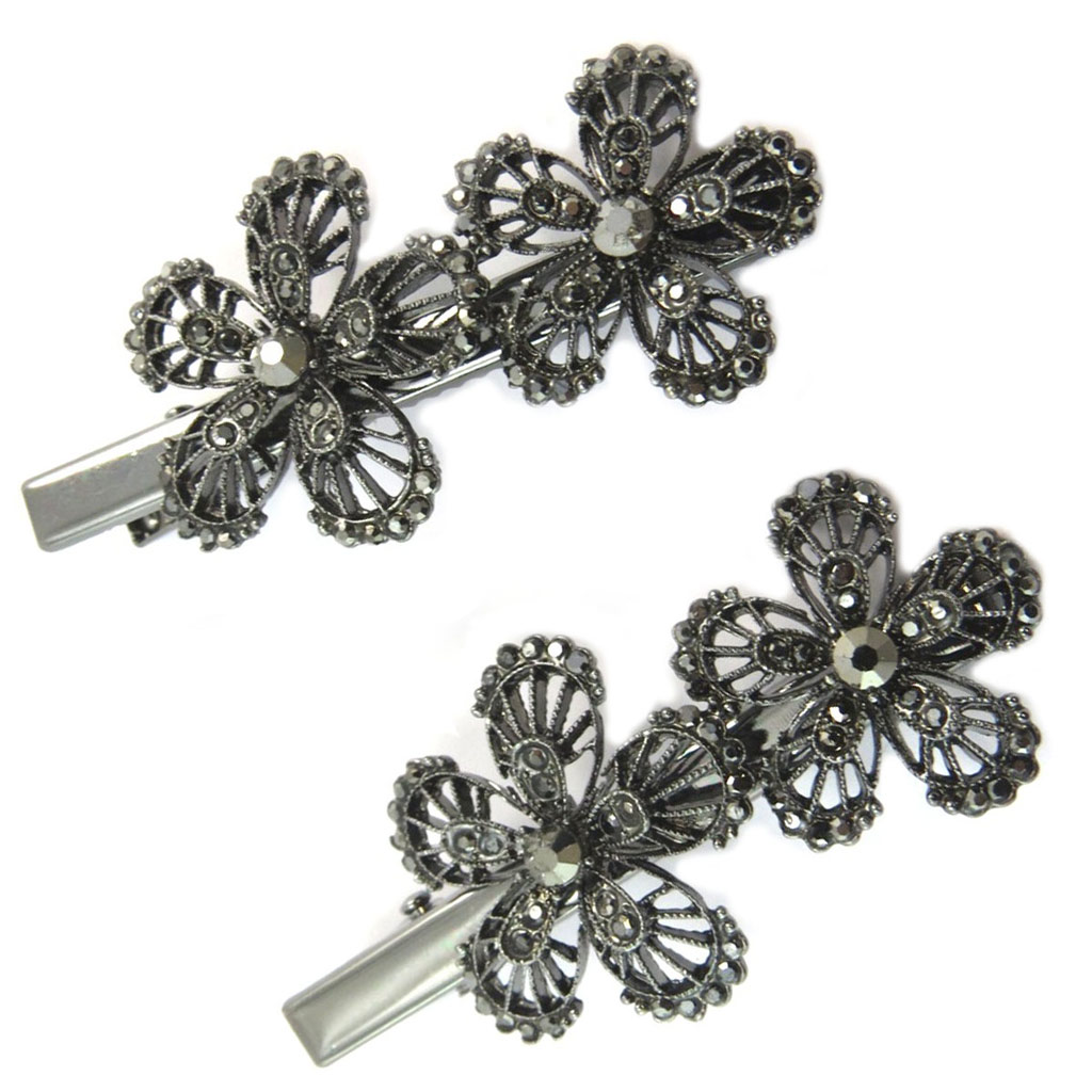 2 barrettes / pinces pélican \'Sissi\' gris (fleurs) - 60x30 mm - [P6274]
