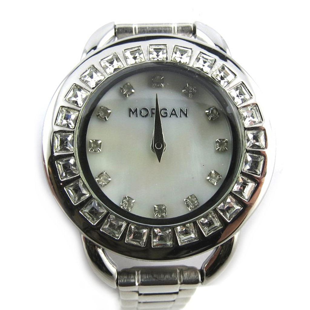 Montre créateur \'Morgan\' blanc argenté (Diamonds) - [N2419]