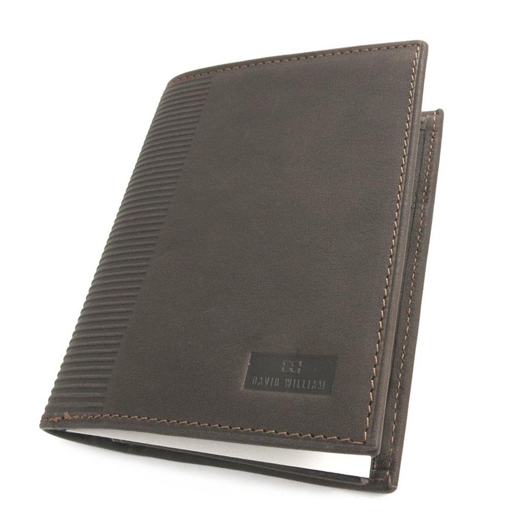 Portefeuille cuir européen \'David William\' marron - 2 volets (cuir de vachette gras) anti-piratage - [N2450]