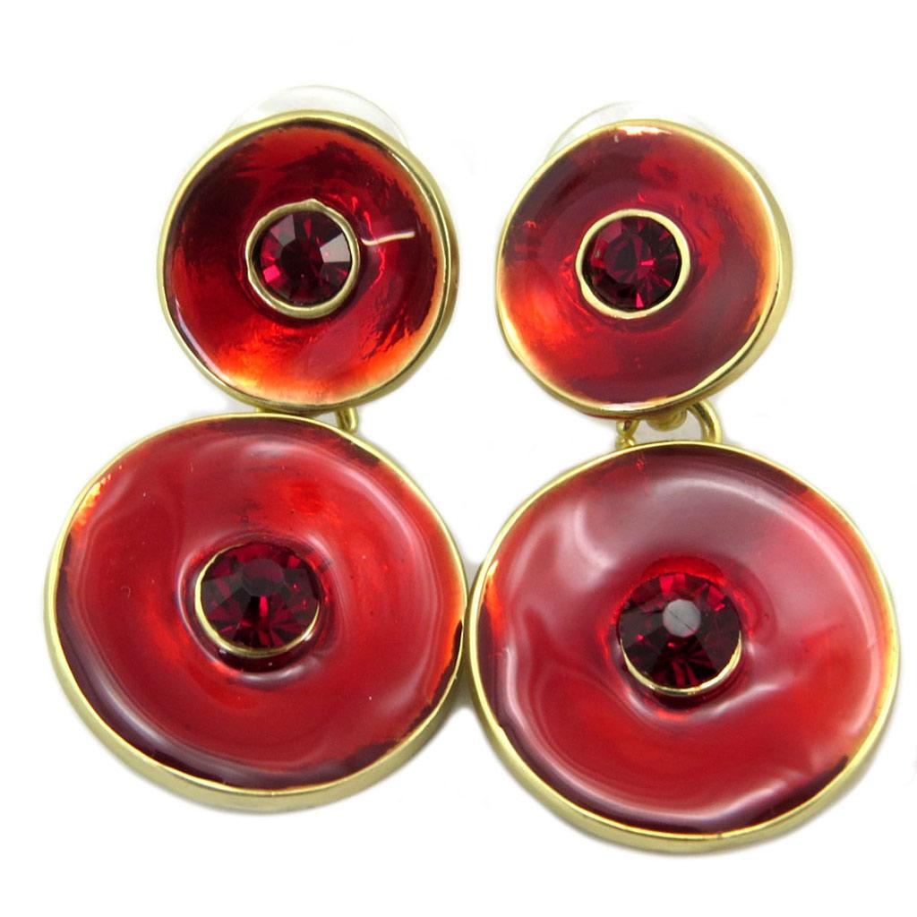 Boucles Créateur \'Nora\' rouge doré - 40x20 mm - [P6337]