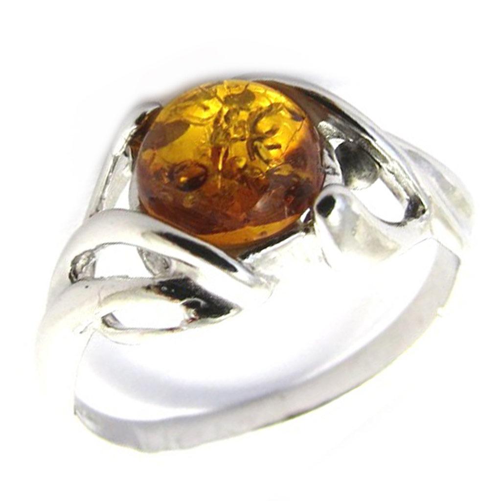 Bague Argent \'Inspiration\' ambre cognac (rhodié) - [N2544]