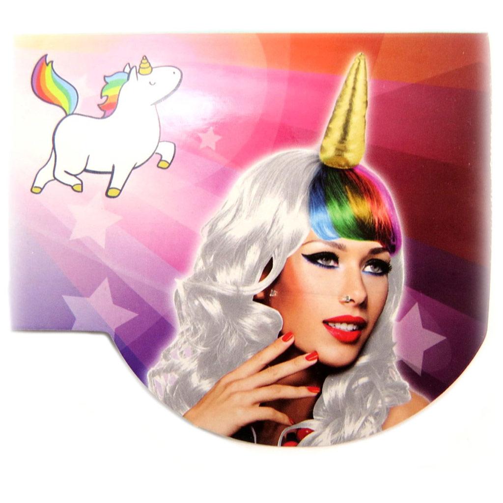 Perruque \'Licorne My Unicorn\' blanc multicolore - 67 cm - [P6502]