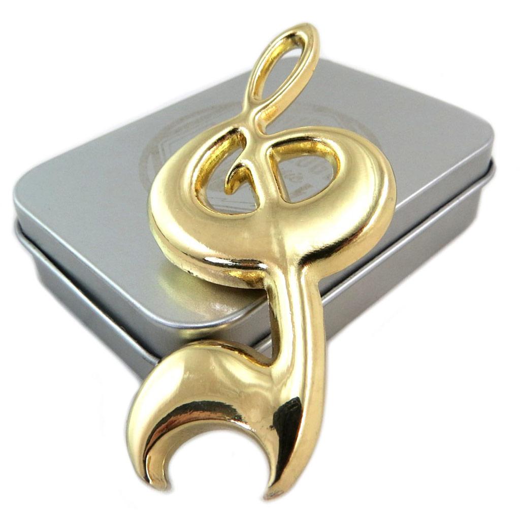 Décapsuleur \'Musicology\' doré (clé de sol) - 75x35x8 mm - [P6525]
