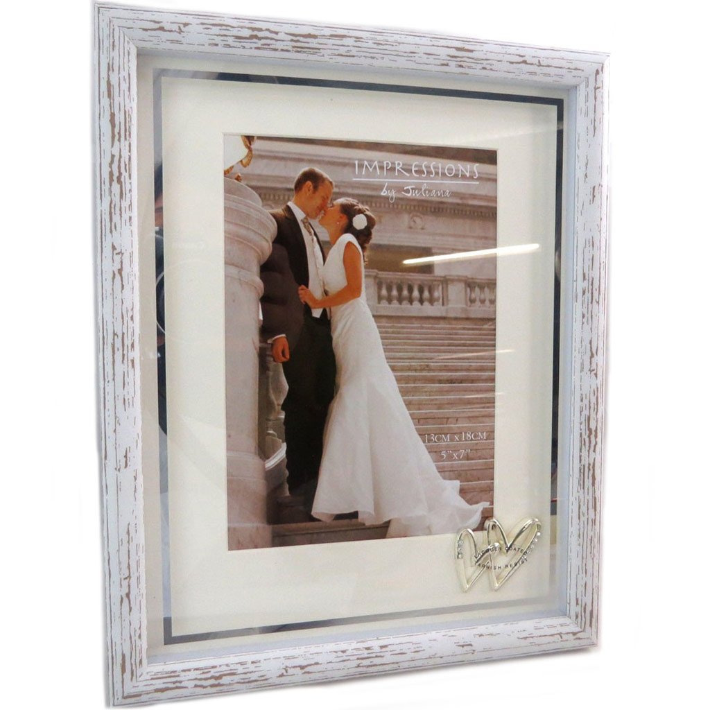 Cadre Photo bois \'Romance\' blanc vintage - 13x18 cm - [P6531]