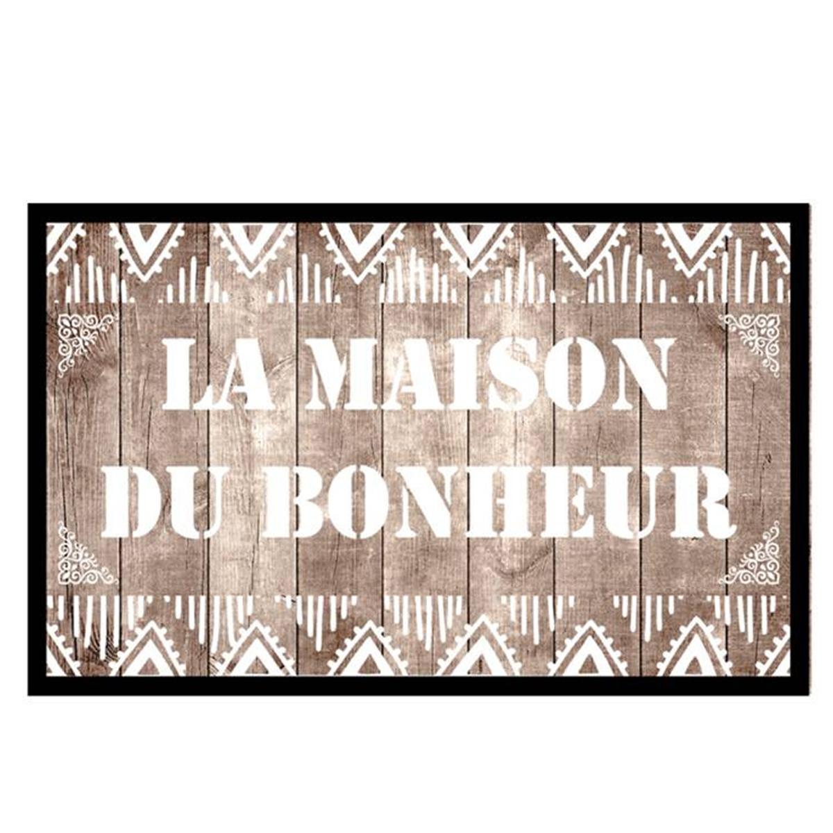 Tapis Intérieur \'La Maison du Bonheur\' gris - 60x40 cm - [P6543]