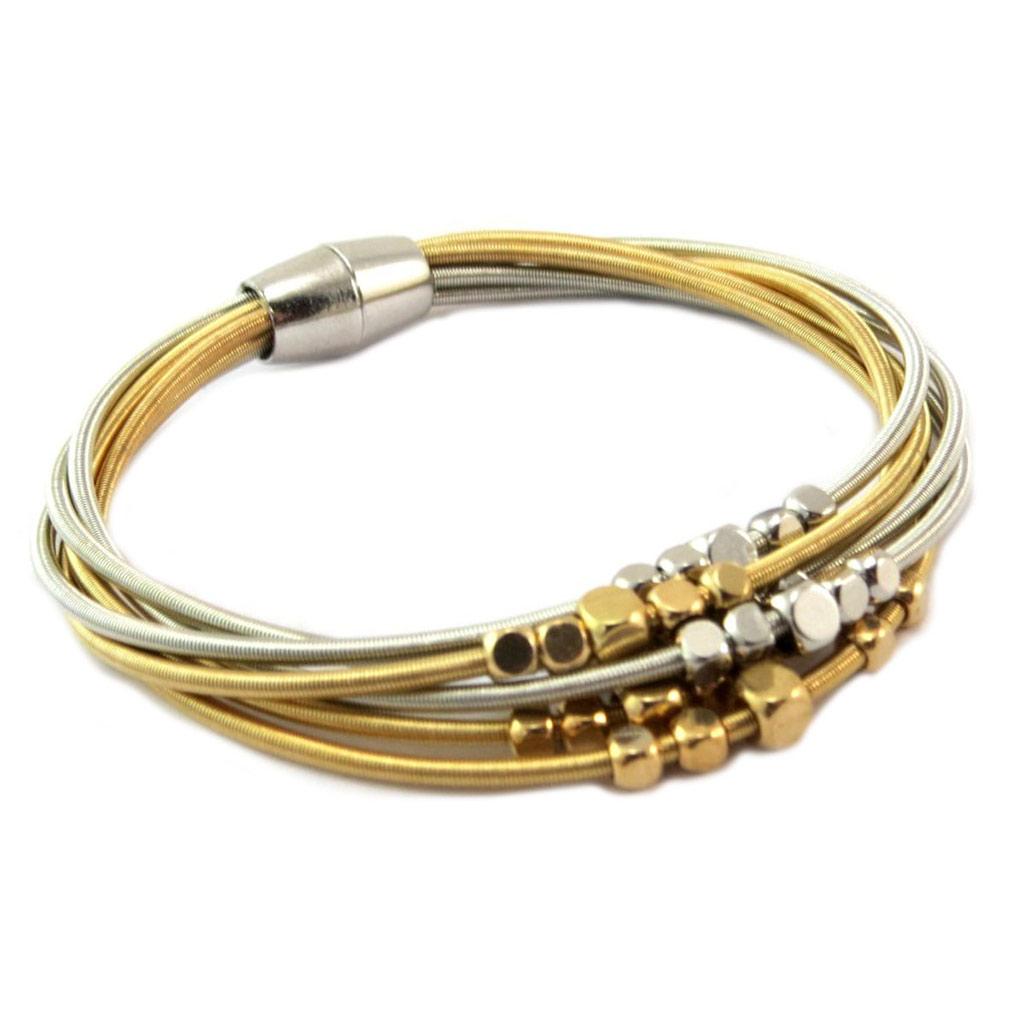 Bracelet ethnique \'Kilimanjaro\' argenté doré (6 rangs) - [P6573]