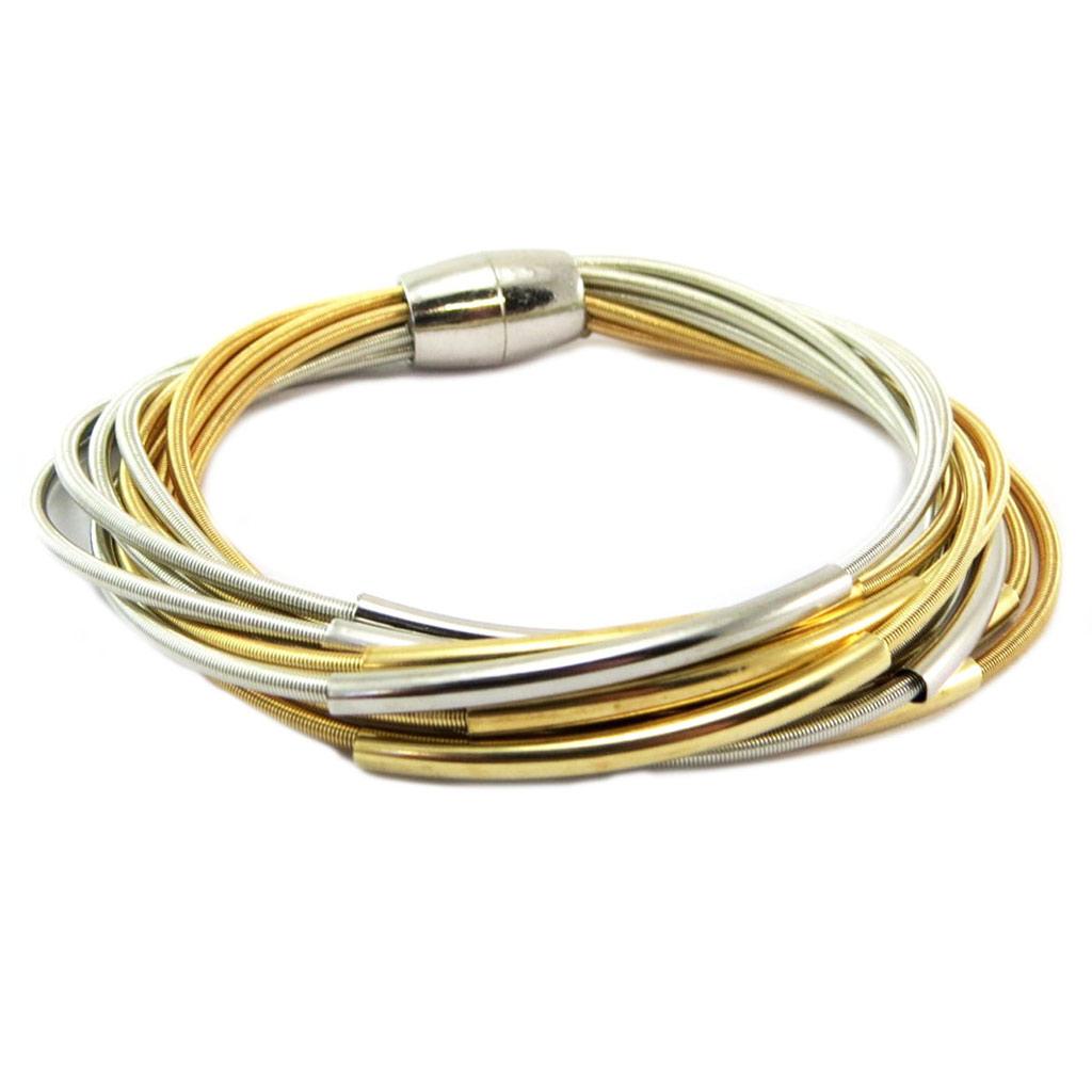 Bracelet ethnique \'Kilimanjaro\' argenté doré (10 rangs) - [P6574]