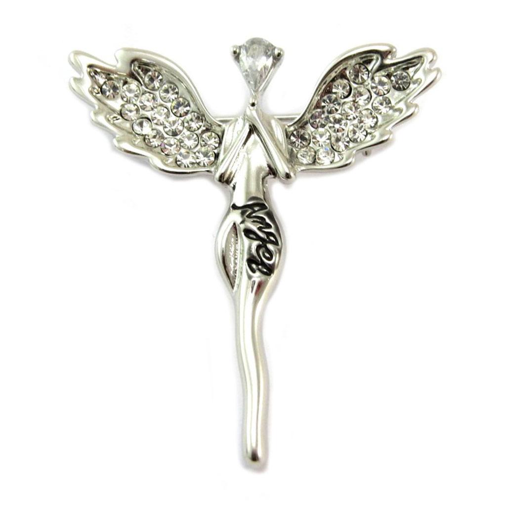 Broche Créateur \'Fée Ange Gardien\' blanc argenté (angel) - 40x35 mm - [P6599]