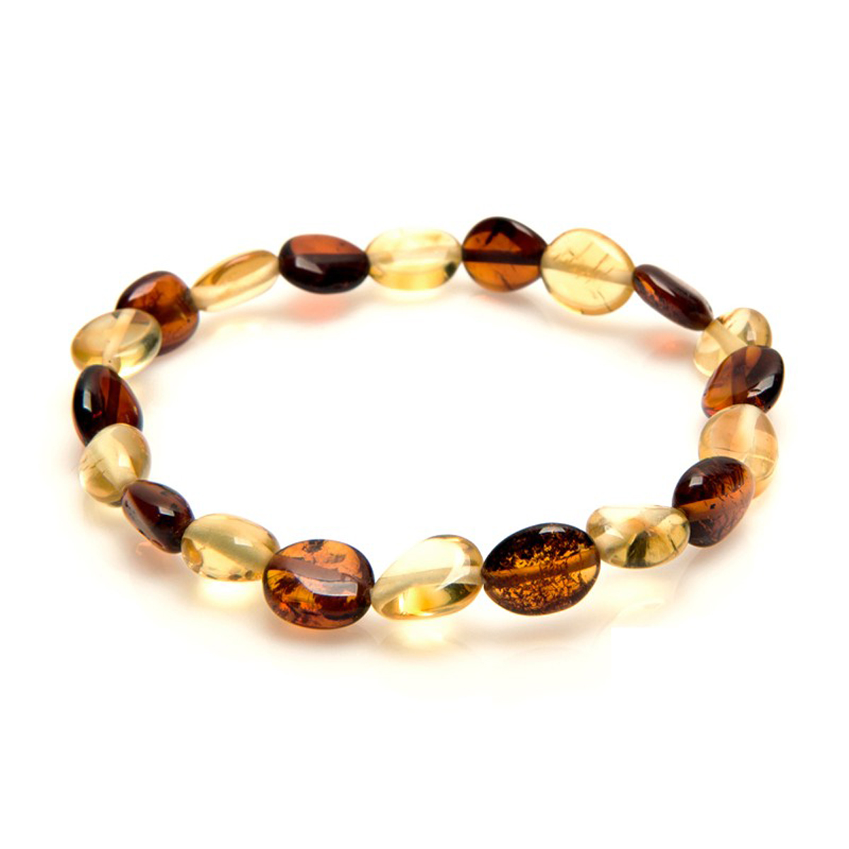 Bracelet \'Inspiration\' ambre (2 tons) -7 mm - [P6620]