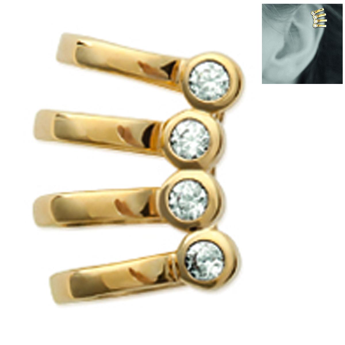 Bague d\'oreille \'Sissi\' blanc doré (à l\'unité) - 15x6 mm - [N2596]