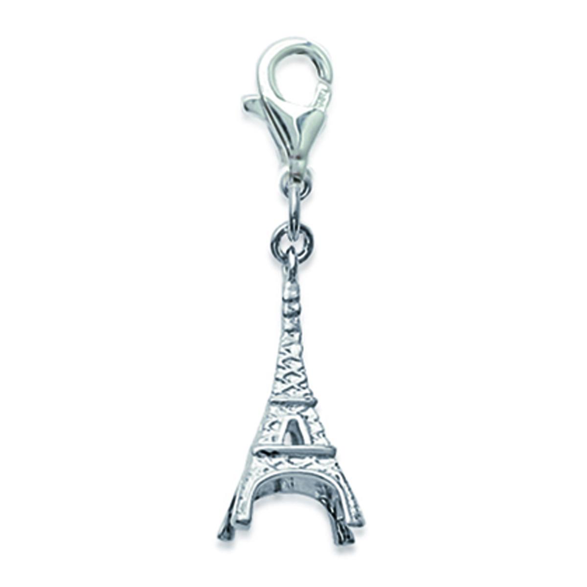 Pendentif Charm \'Tour Eiffel\' argenté (rhodié) - 21x9 mm - [N2600]
