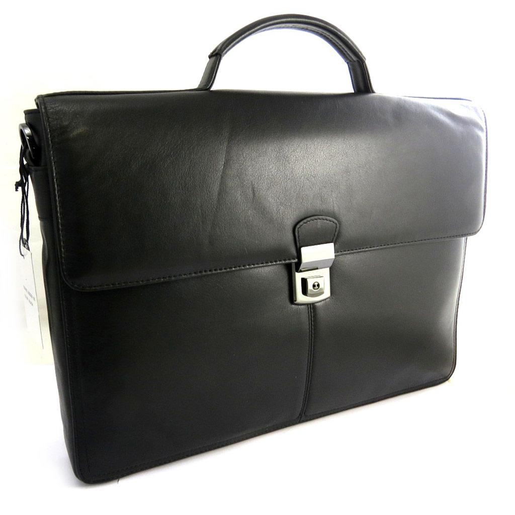 Sac business, porte-ordinateur cuir \'Azzaro\' noir (special ordinateur 15\') - [N2643]