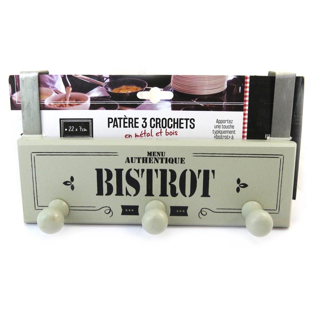 Patère bois \'Bistrot\' gris (3 crochets) - [N2695]