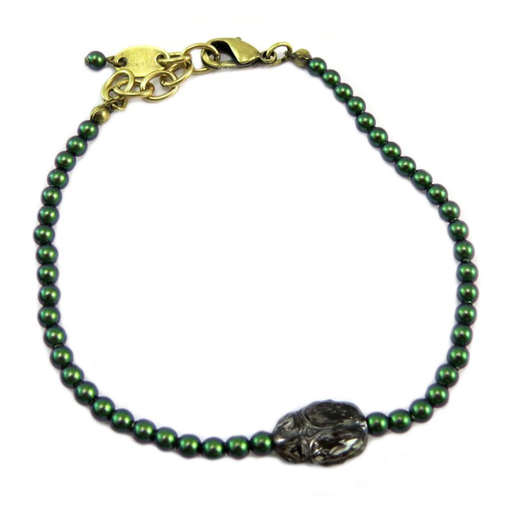 Bracelet artisanal \'Tsarine\' vert gris (scarabée) - 3 mm, 11x8 mm - [P6677]