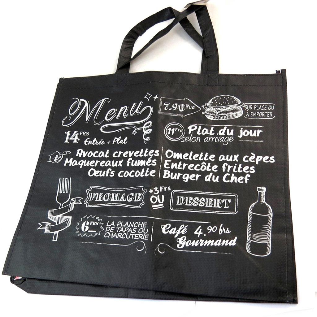Sac Shopping \'Bistrot\' noir - 45x40x20 cm - [N2703]