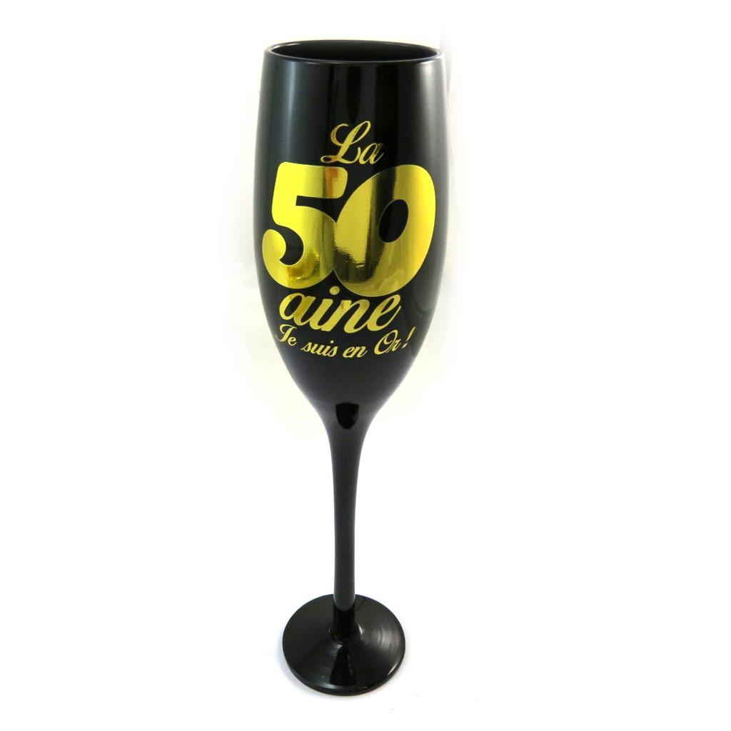 Coupe flute à champagne \'50 ans\' noir doré - [N2744]