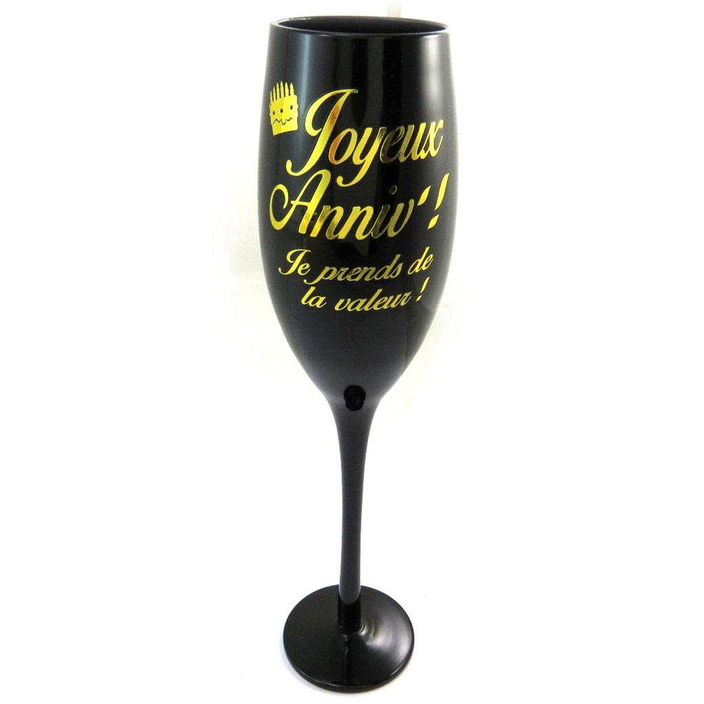 Coupe flute à champagne \'Joyeux Anniv !\' noir doré - [N2746]
