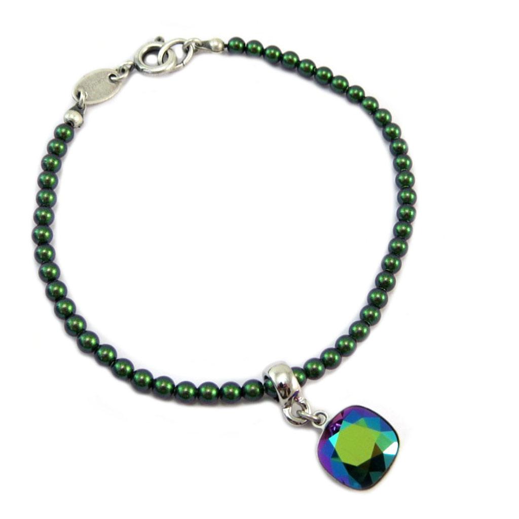 Bracelet artisanal \'Tsarine\' vert argenté - 18 cm 3 mm, 10x10 mm - [P6715]