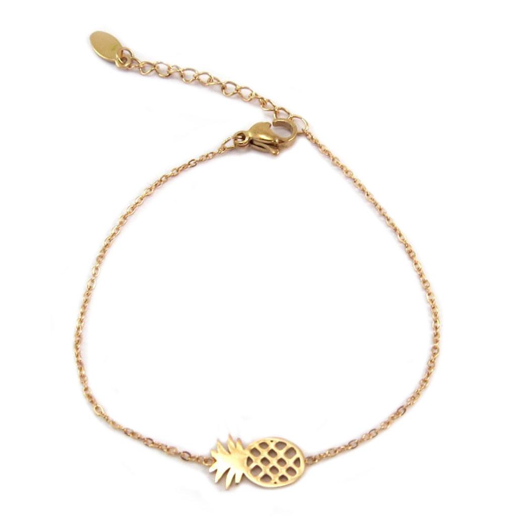 Bracelet acier \'Ananas\' doré rosé (gold pink) - 12x6 mm - [P6763]