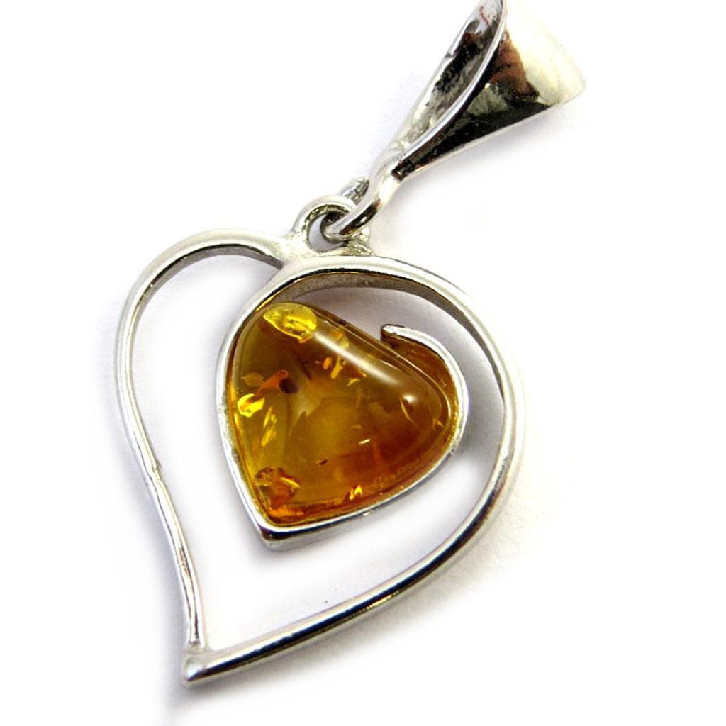 Pendentif Argent \'Love\' ambre cognac (rhodié) - 20x16 mm - [N2790]