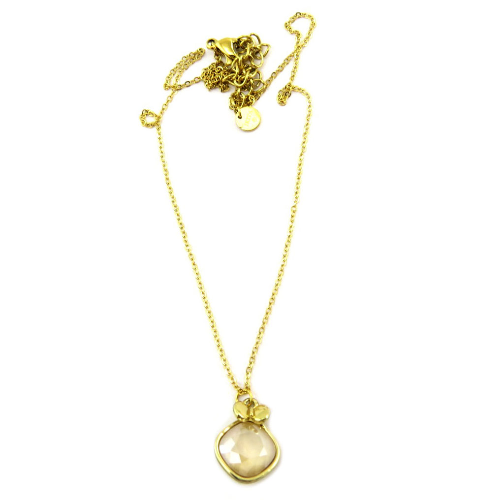 Collier artisanal \'Bohème\' beige doré - 15x12 mm - [P6790]