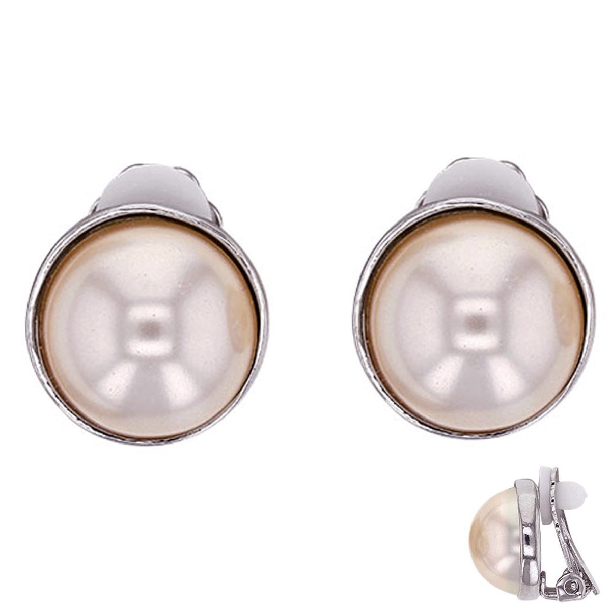 Boucles clips Créateur \'Sissi\' gris argenté (perles de marjorque)- 14 mm - [P6812]
