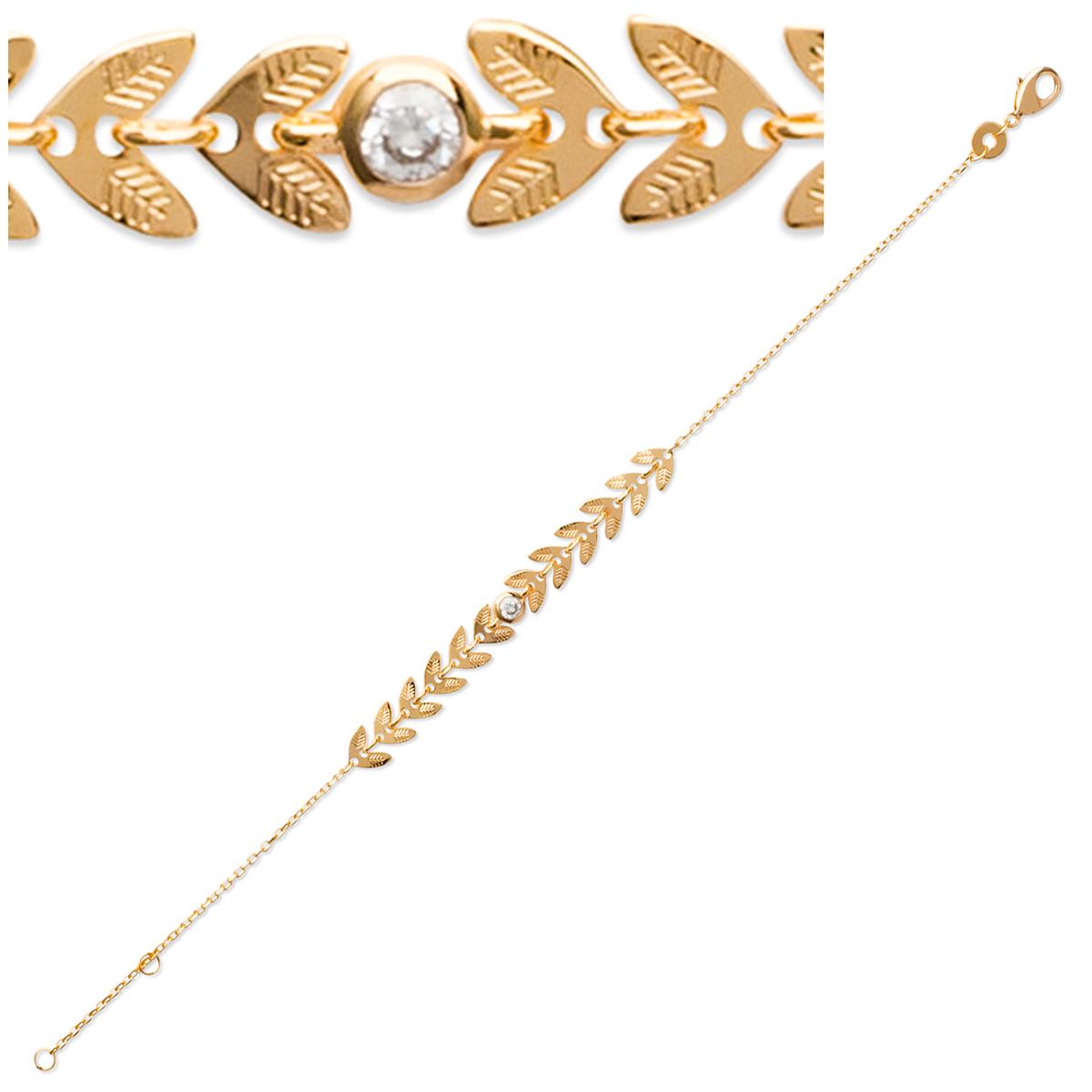Bracelet Plaqué or \'Epi de blé\' doré - 60x6 mm - [P6856]