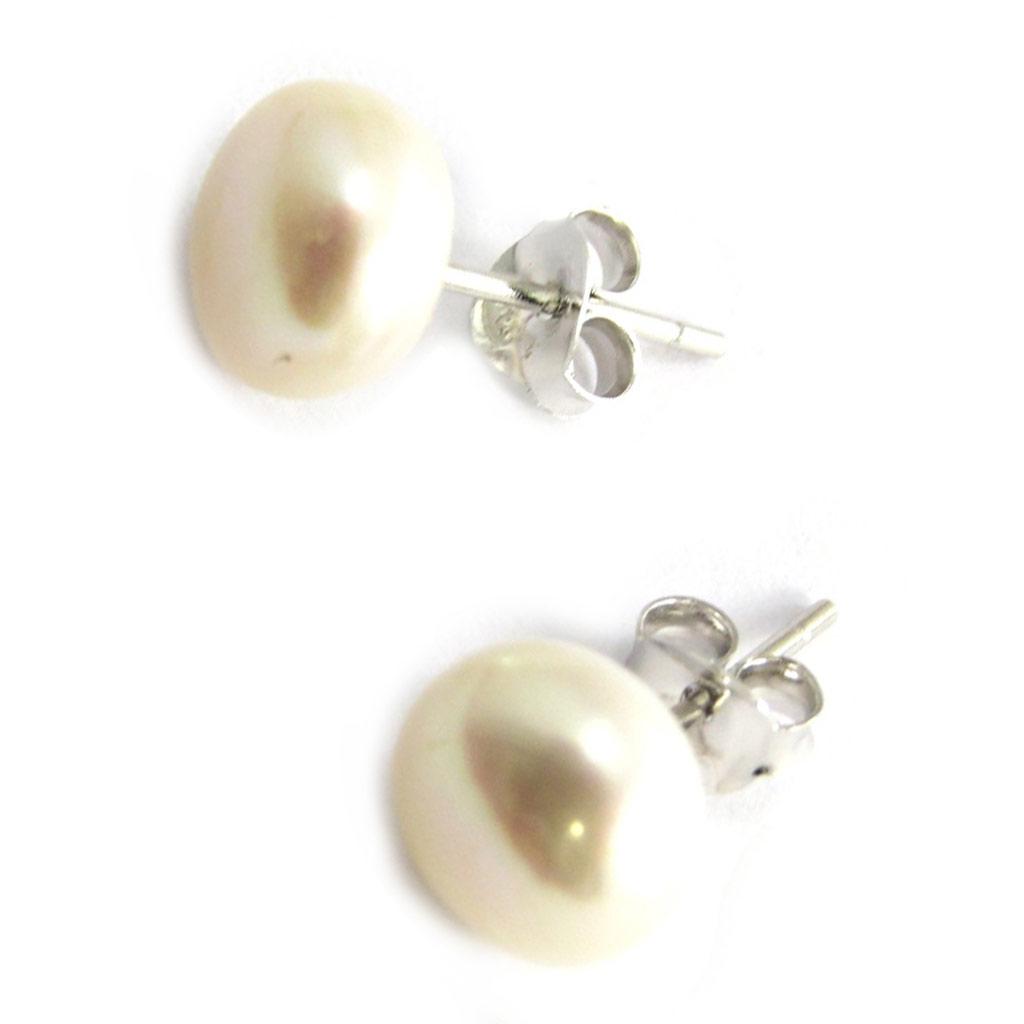 Boucles argent \'Perla\' ivoire - 8 mm - [N2924]