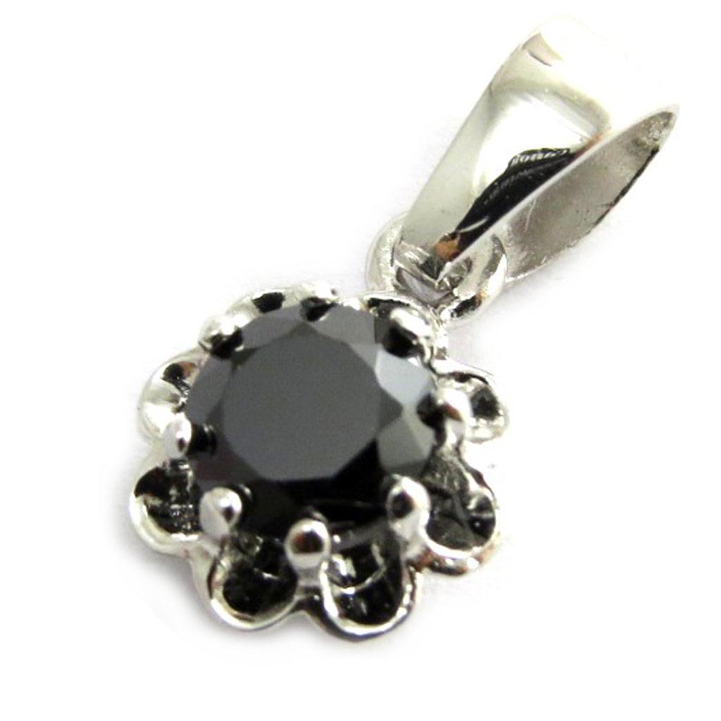 Pendentif argent \'Fleur de Cristal\' noir - [N2972]
