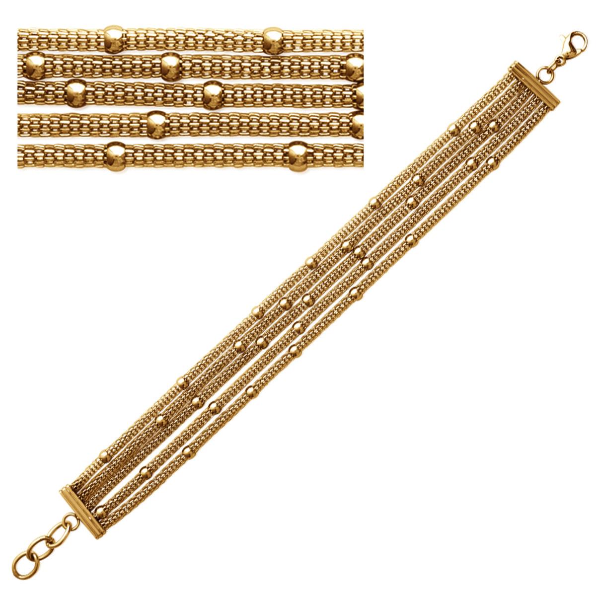 Bracelet Acier \'Kilimanjaro\' doré (5 rangs) - 15 mm - [N3029]