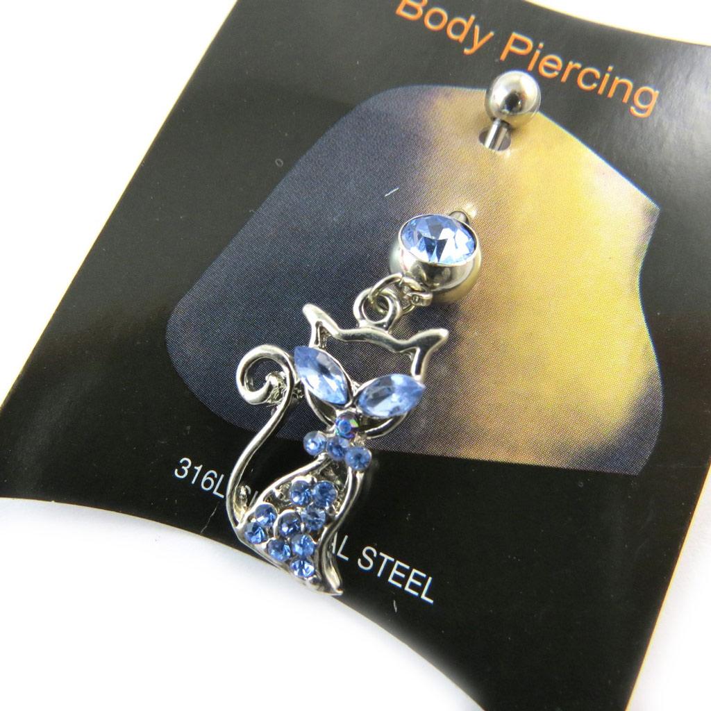 Body Piercing \'Chat\' bleu - [N3197]