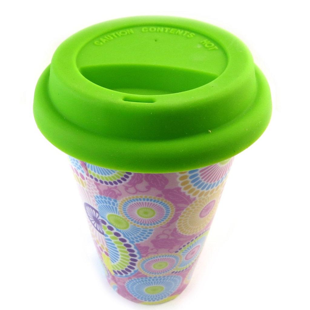 Mug de transport céramique \'Katmandou\' vert - 15x9 cm - [N3214]