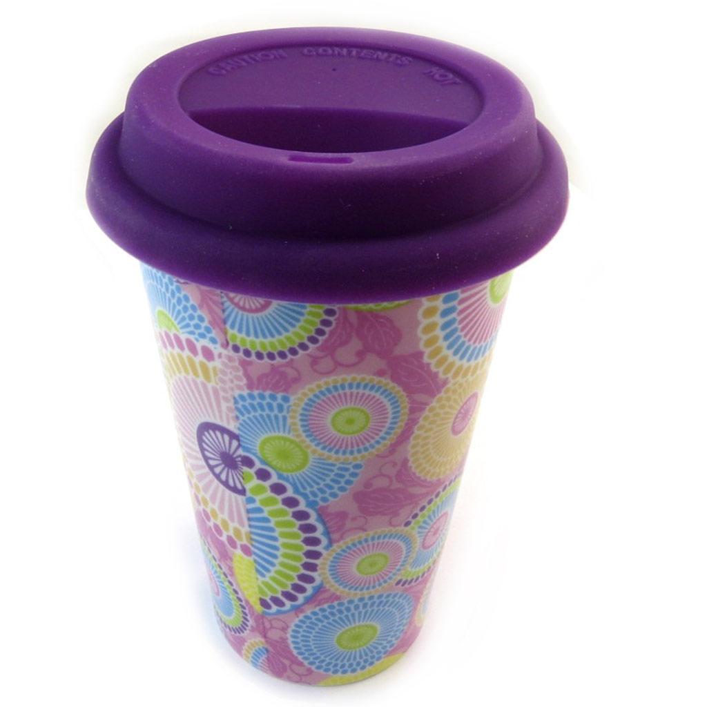 Mug de transport céramique \'Katmandou\' violet - 15x9 cm - [N3215]
