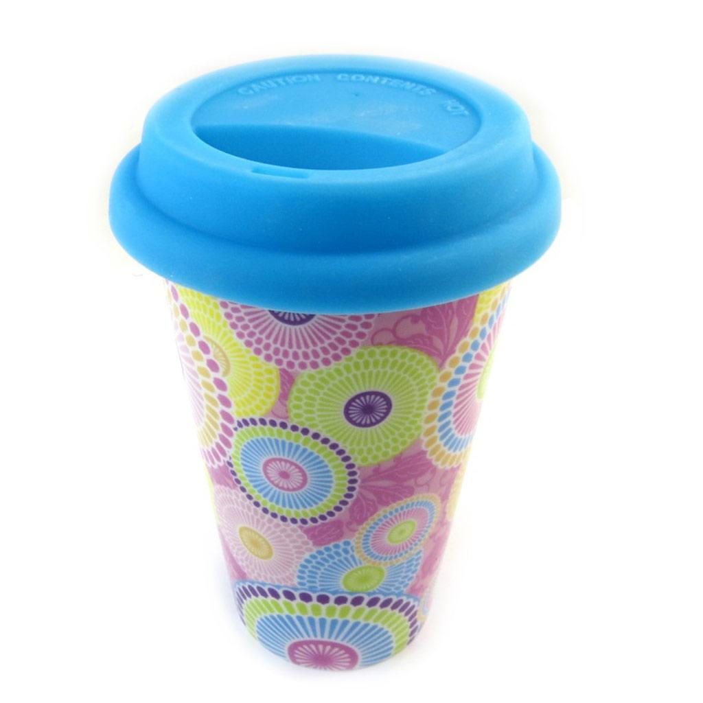 Mug de transport céramique \'Katmandou\' bleu - 15x9 cm - [N3216]