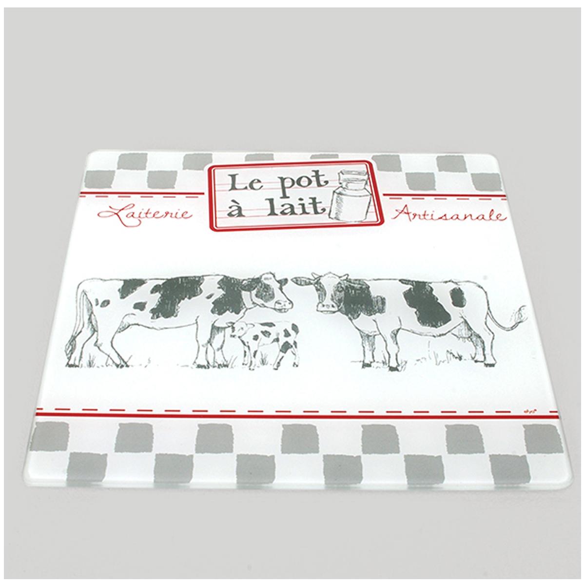 Dessous de plat verre \'Vaches\' gris blanc (le pot à lait - laiterie artisanale) - 20x20 cm - [A0230]