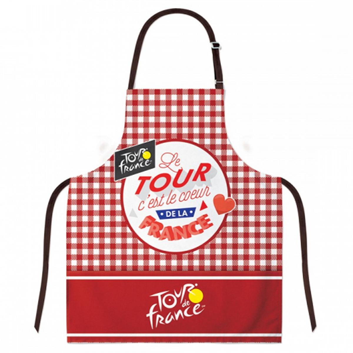 Tablier créateur coton \'Tour de France\' carreaux rouges (le Tour c\'est le coeur de la France)- 78x68 cm - [R1963]
